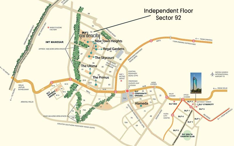 Location Map - DLF Independent Floors Sector 92 Gurgaon